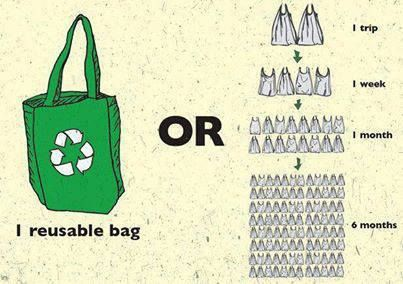A few reasons to use reusable bags and stay away from plastic:  1. The petroleum used to produce 14 plastic bags can drive a car one mile. 2. Plastic bags take anywhere from 15 to 1000 years to decompose. 3. It's estimated that 1 million birds and thousands of turtles and other sea animals die each year after ingesting discarded plastic bags.