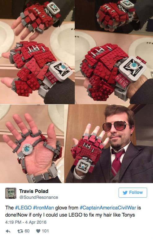 Remember the shot heard 'round the world?        Yup, that's the one!          Well, check out an enterprising LEGO/ Iron Man fan and his Iron Man LEGO glove! Neat!             …