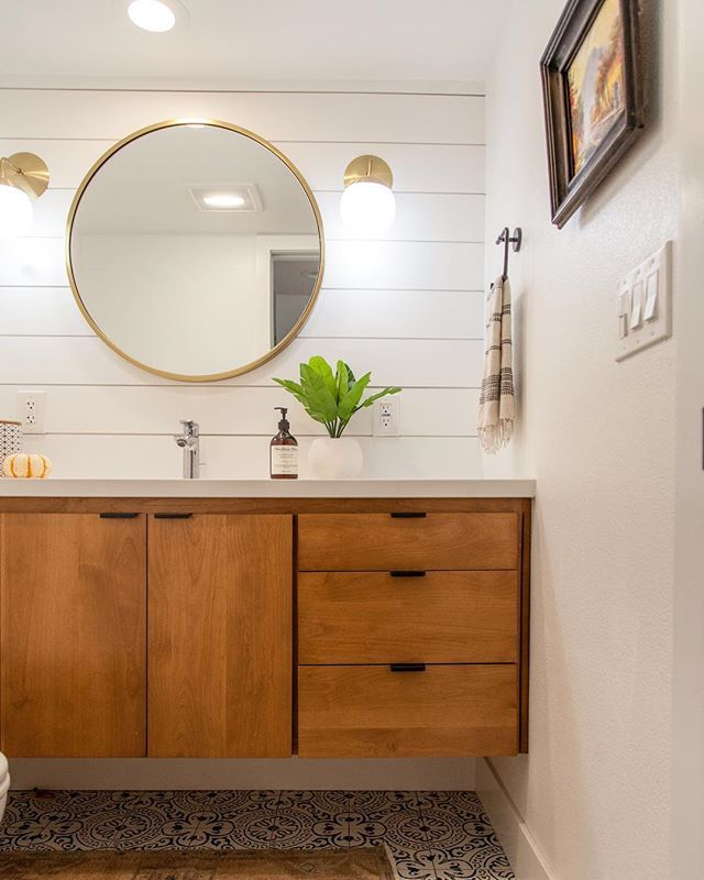 Small Bathroom Remodel With White Shiplap Natural Wood Floating Vanity West Elm Mirror Cement Tile And Bathroom Sconces Bathroom Inspiration Small Bathroom