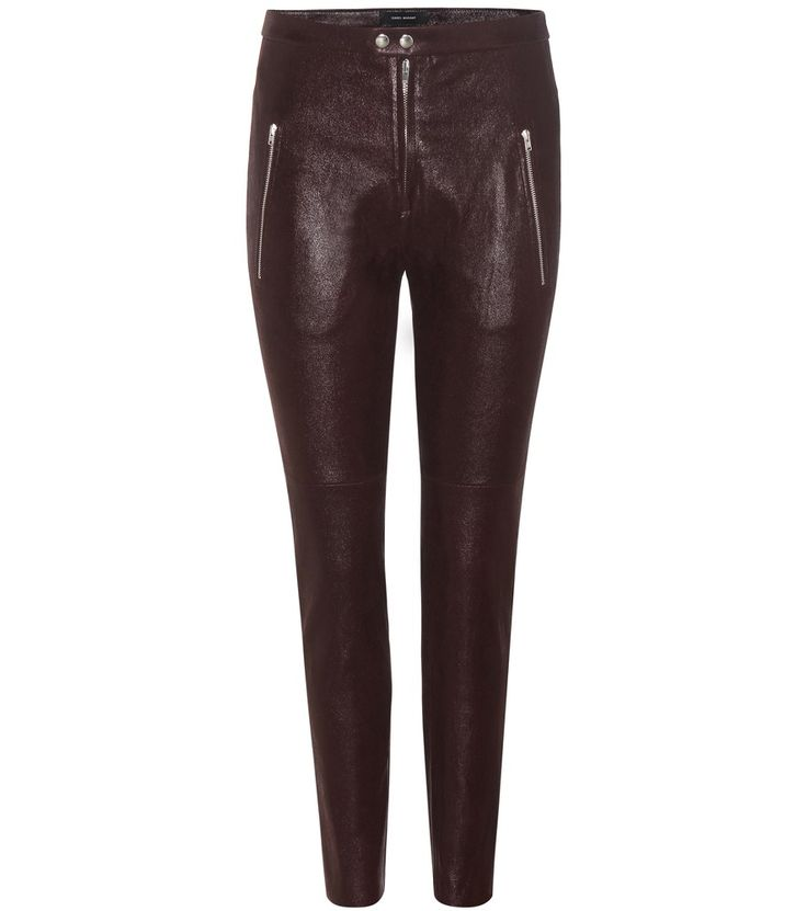 Isabel Marant - Arnold leather trousers - Isabel Marant opts for a statement-making look with these wet-look, high-shine trousers. Crafted in a stretchy design from super smooth lamb leather, this sultry pair fit like a second skin. Golden hardware pops against the plum background for a tough-luxe vibe. Style yours with sneakers during the daytime and sky-high heels after dark. seen @ www.mytheresa.com