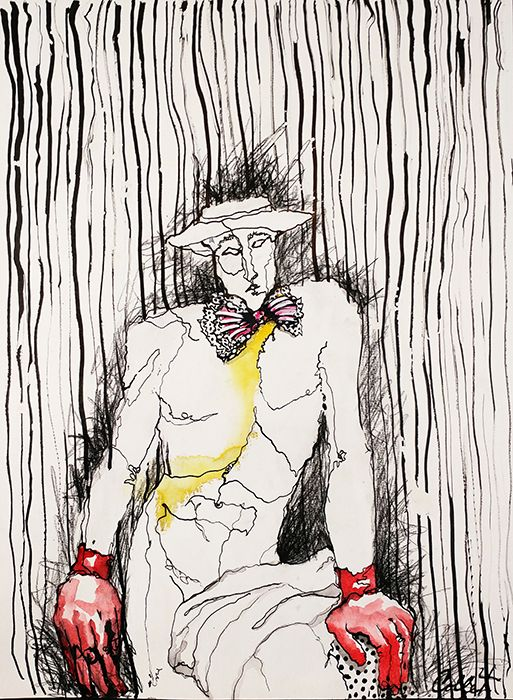 """Man With Red Gloves - Mixed media on paper - 18"""" X 24"""""""