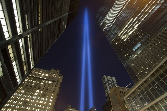The Tribute In Light rising into the sky in lower Manhattan a few blocks south of the WTC site on September 11, 2014Photo By: Robert Breese/For the Times Herald-Record