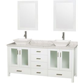 Wyndham Collection Lucy White 72-In Vessel Double Sink Oak Bathroom Vanity With Natural Marble Top (Mirror Included) Wcv