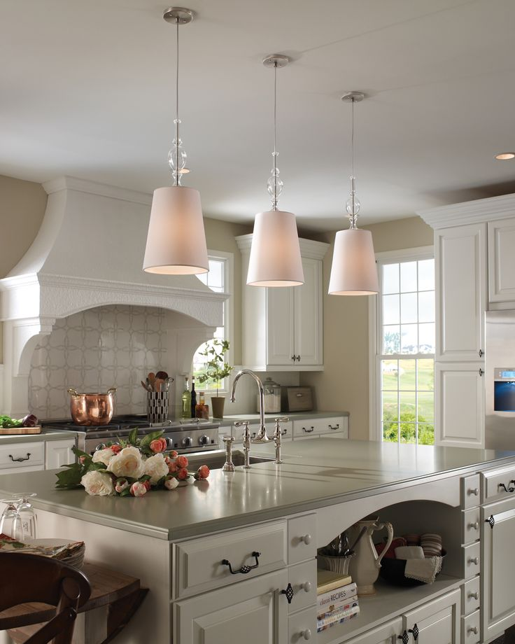 Kiev pendant with white shade and clear fount contemporary kitchen lighting and cabinet lighting austin premium home interior