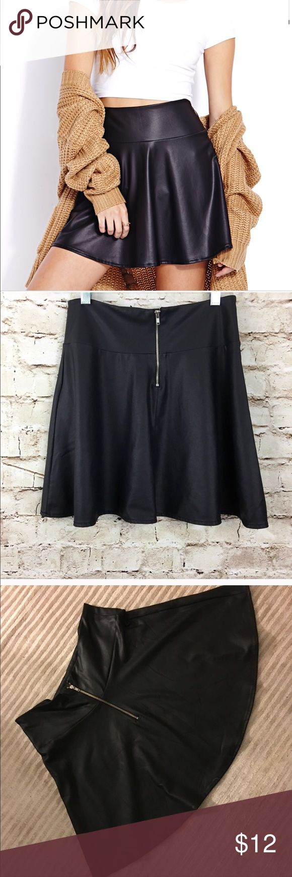 Leather Skater Skirt Black Never Worn In excellent condition Forever 21 Skirts Circle & Skater