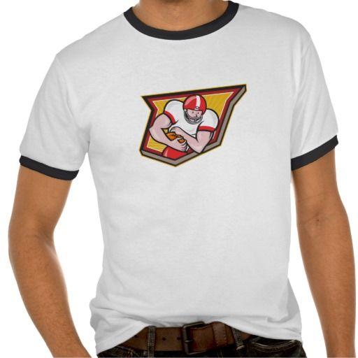 American Football Running Back Run Shield Cartoon T Shirt
