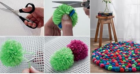 it will take some of your time to do it completely, but be sure that it is gonna be a fun activity for all members of your family. It does not seem particularly hard to make colorful pompoms that why i belive you'll manage it fast. Pom-pom ring, Scissors, Crochet hook,Yarn in different colors,Non-skid rug …