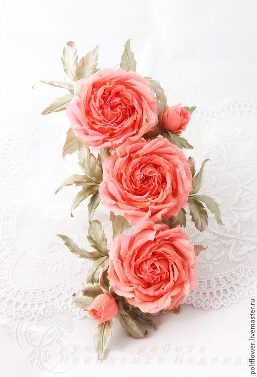 """Веточка роз """"Corallo"""". Натуральный шелк. - коралловый, розы, украшение для невесты, цветы для невесты, handmade wedding jewelry flowers"""
