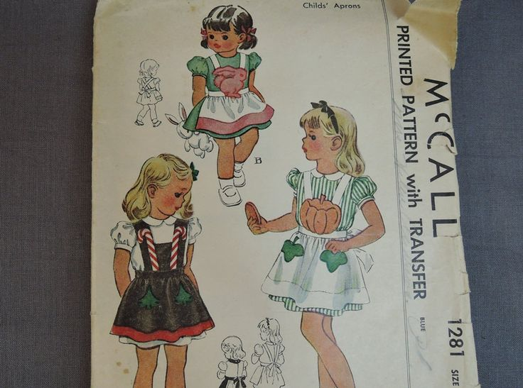Vintage Pattern Little Girl's Aprons with Novelty Transfers, Candy Canes…