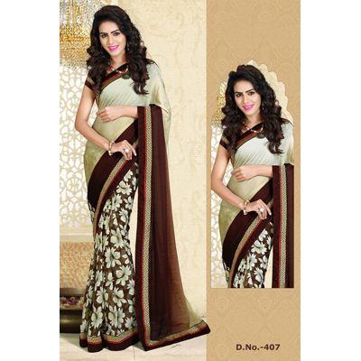 Buy Sareeline Brown And Green Crepe Saree by Mor Mukut Fashion, on Paytm, Price: Rs.2001