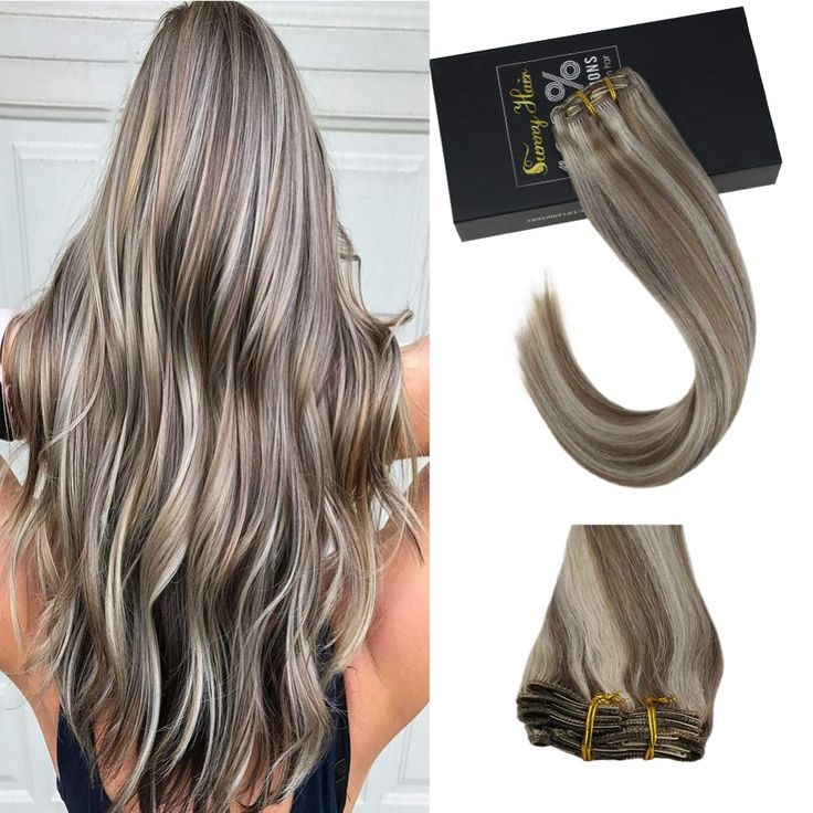 Sunny Humam Hair Extensions Clip in Blonde Highlig…