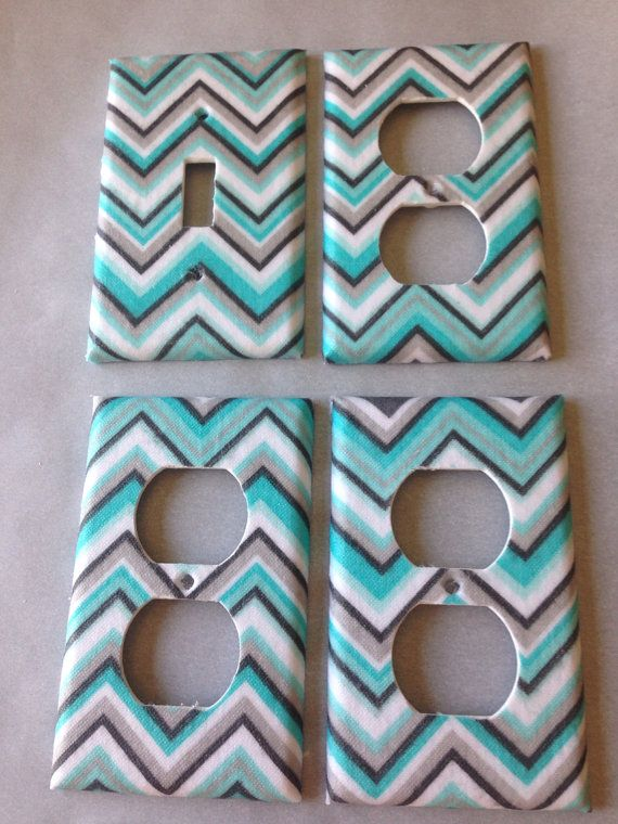 Blue Gray Chevron Light Switch Cover / Aqua Gray Nursery Decor / Turquoise and Grey / Bedroom Decor / Home Decor / Bathroom Decor