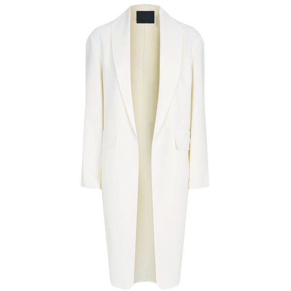 Alexander Wang Virgin Wool Duster Coat (49,730 DOP) ❤ liked on Polyvore featuring outerwear, coats, jackets, alexander wang, coats & jackets, lightweight shawl, white coat, shawl coat, lightweight coat and duster coat