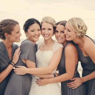 wedding, beach, bridesmaids