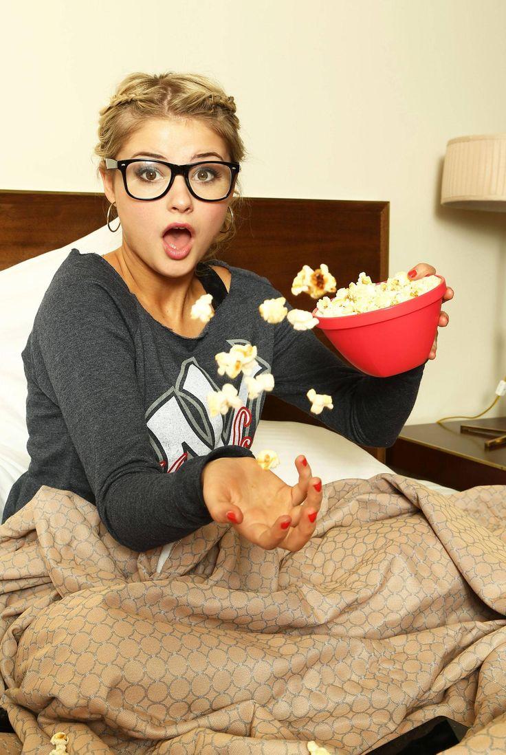 Stefanie Scott having a popcorn fest. Stefanie scott