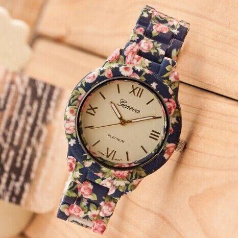 Luxo New Plastic flor impresso genebra assista moda mulheres Ladies Quartz Dress Watch elegante Popular mulheres relógio de pulso Relogio em Relógios de Pulso Femininos de Relógios no AliExpress.com | Alibaba Group   Eu tenho um desse...Apaixonante