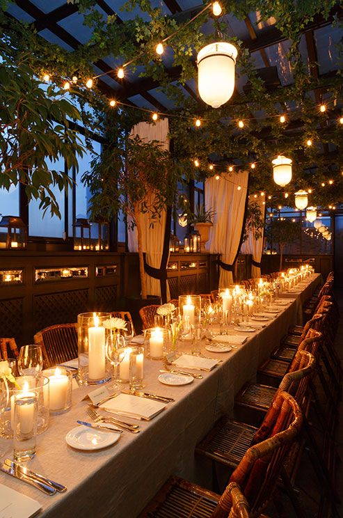 String lights and candles are great options for illuminating your wedding reception on a budget.