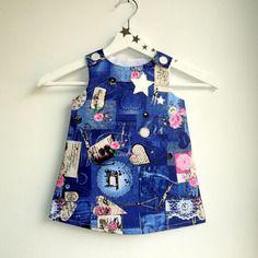 """Robe """"zoe"""" 6-36 mois,évolutive,bleu  rose,aspect jean,coton,"""