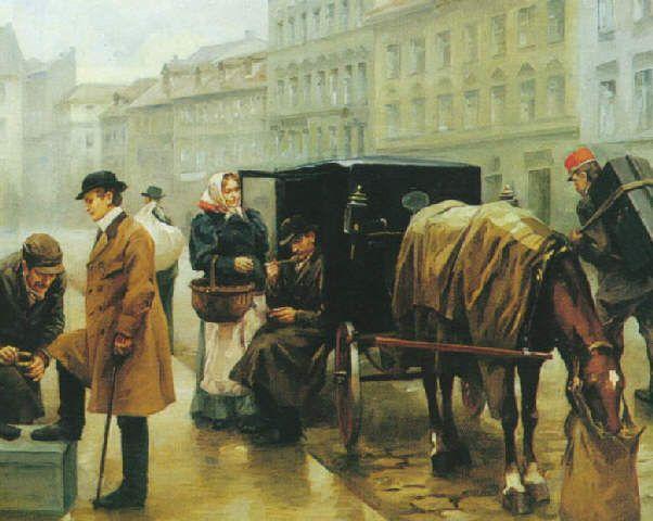 Vojtěch Bartoněk – scéna z pražské ulice (kol.1908)