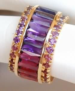 Multi gemstone baguette and round eternity band #ring $3999.00