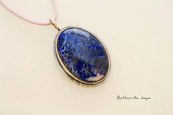Colgante sodalita y plata de ley. Colgante azul piedra