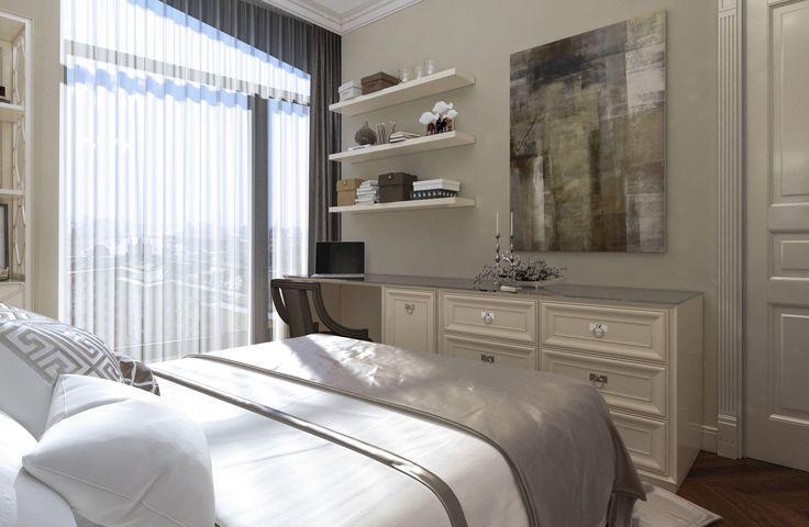 Дизайн апартаментов ЖК Balchug Residence. Спальня для гостей 2. Вид 3 #аркси #arxy #дизайнинтерьера #элитныйинтерьер #дизайнквартиры #спальня #дизайнспальни