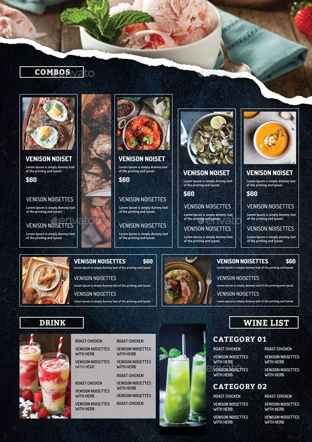 A3 Restaurant Menu Vol 51 Dengan Gambar Desain Menu Makanan