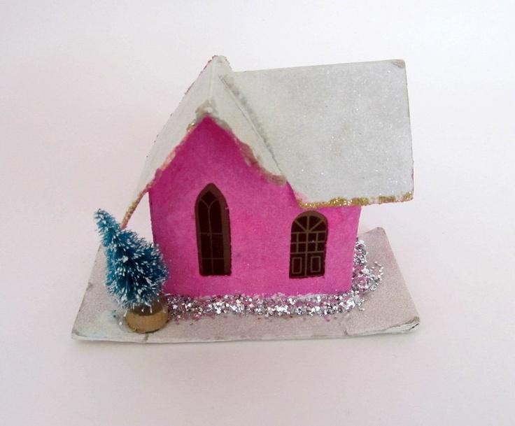 Vintage Pink Christmas Cardboard House