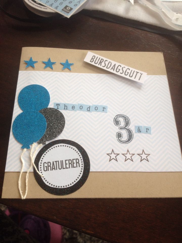 Birthdaycard for boy/3yearold/ scrapping/DIY/Papirdesign