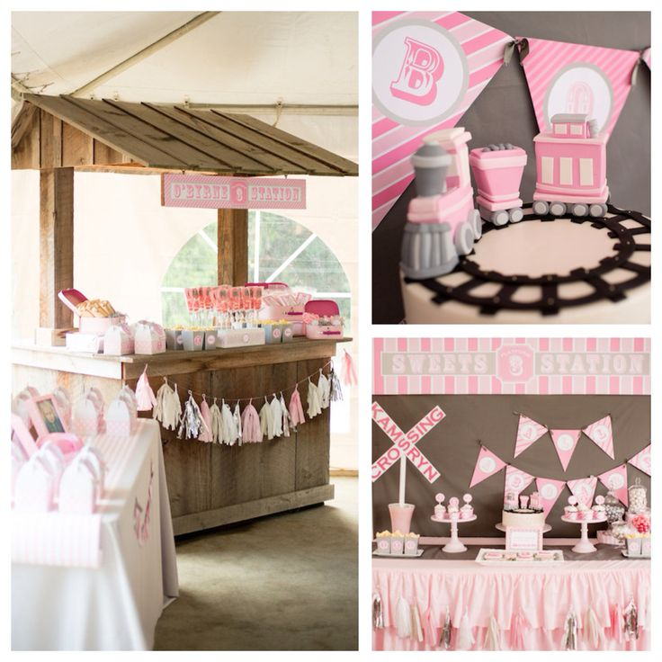 Planning a party? Look at this cute GIRLY train themed birthday party on Kara's Party Ideas by Hoopla Events!