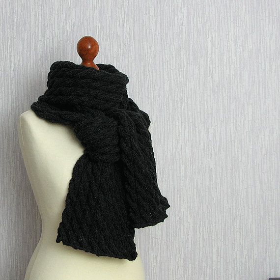 Long Scarf Mens Scavres CHARCOAL Scarf Women by DamovFashion