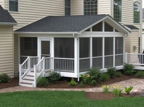 Screened porch and deck with azekbuilds brownstone flooring and longevity white pvc railing - Screen porch roof set ...