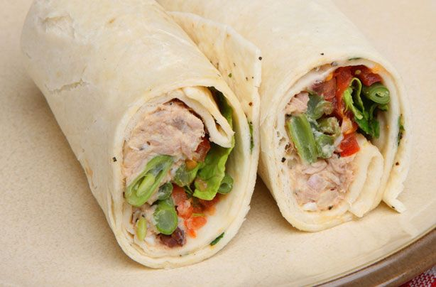 Plain flatbread wraps, which have been a staple in many parts of the world for centuries, are so easy to use, they have become increasingly popular in this country. Just pop on the filling, turn in the ends, roll up, cut in half � and enjoy! These tuna and lemon mayonnaise wraps make a great lunch box main meal. Wraps are much healthier than bread, you could also use brown or wholemeal wraps instead for an even healthier spin.