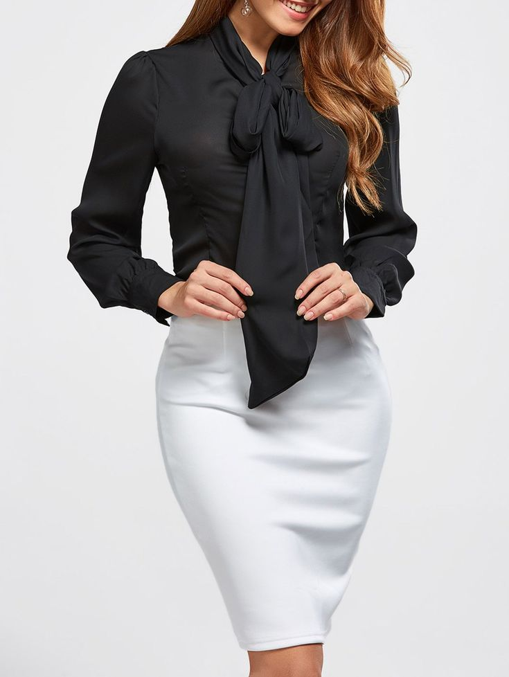 PUSSY BOW Slimming Tie Neck Blouse in Black   Sammydress.com