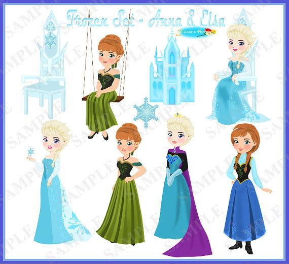 Frozen Clipart Set Part 2  Elsa and Anna 300dpi by GraciesArts, $5.00