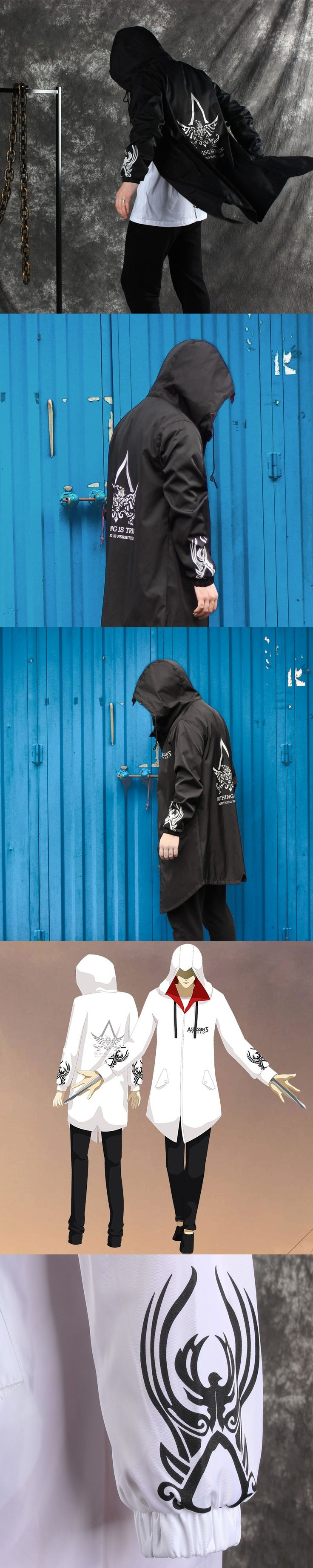 Assassin's Creed hoodie Medium length  mens black overcoat trench coat men Dark cosplay assassins creed Hooded hoodies moletom