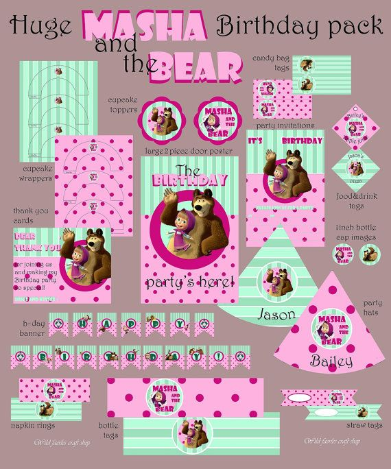Masha and the Bear animated series Instant by WildFaeriesCratShop, $25.00