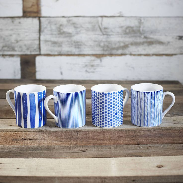 Set of Four Hand Painted Mugs | ALSO Home