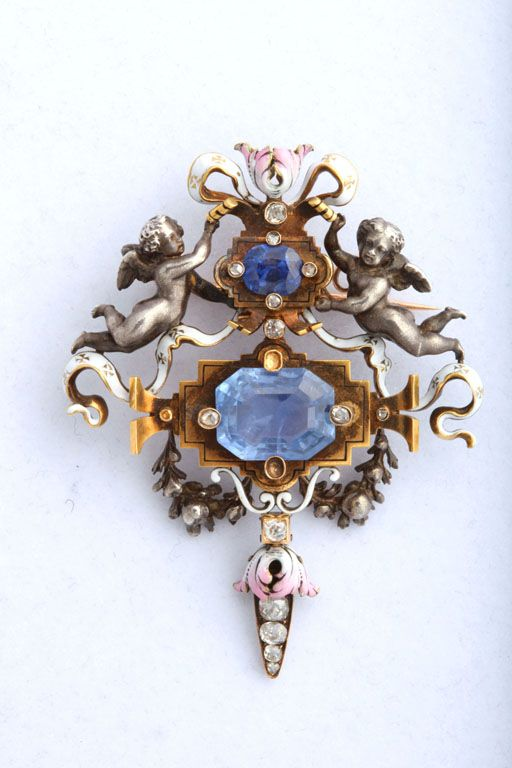 Fanniere Antique Renaissance-Revival Sapphire And Enamel Brooch, A rare and charming articulated brooch, in Renaissance Revival style, by the famed 19th century French jewelers Auguste and Joseph Fanniere. This brooch is from ca. 1869. Signed jewelry of this period is extremely rare.