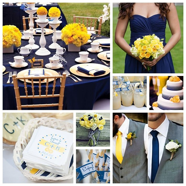 Navy Blue and Yellow Wedding Inspiration Board