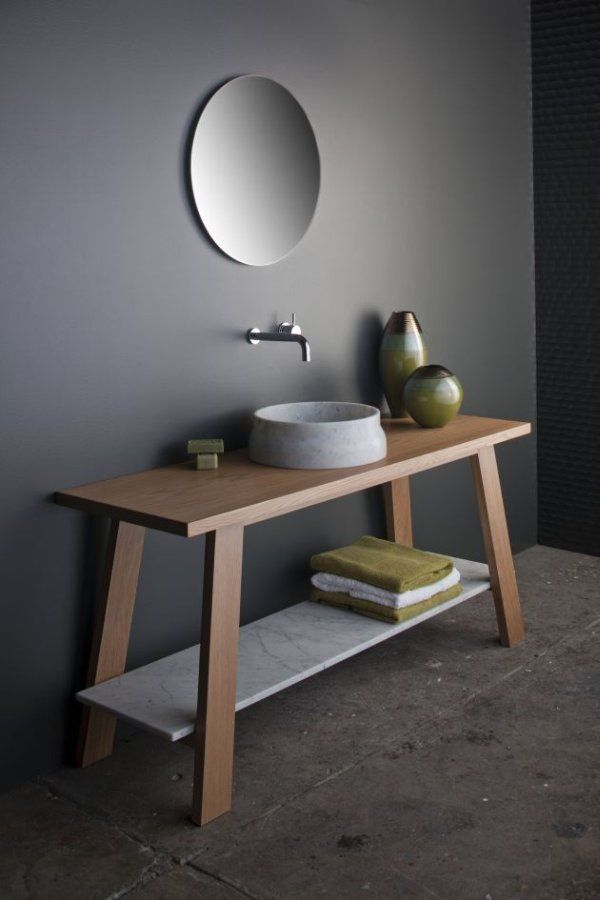 Wonderful White Bathroom Design with Exclusive Impression: Grey Marble Sink Grey Wall Small Round Mirror Wooden Table ~ jangrue.com Bathroom Inspiration