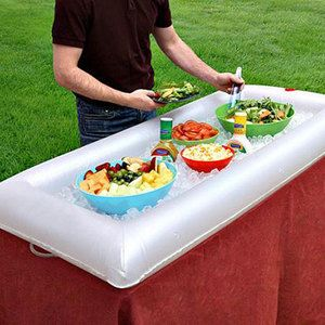 Inflatable Salad Bar / Beverage Cooler   clever! (Think small kiddie pool...)