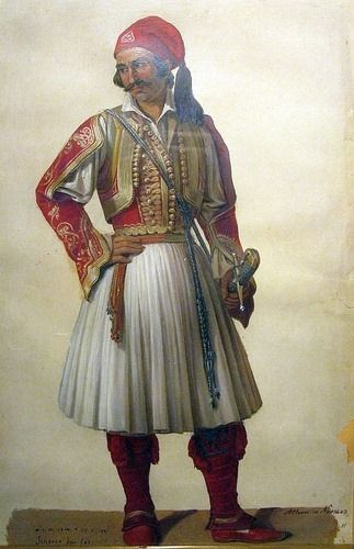 """Scherer, 1843. """"1821 Greek War of Independence fighter"""" watercolour painting. National Historical Museum, Athens."""