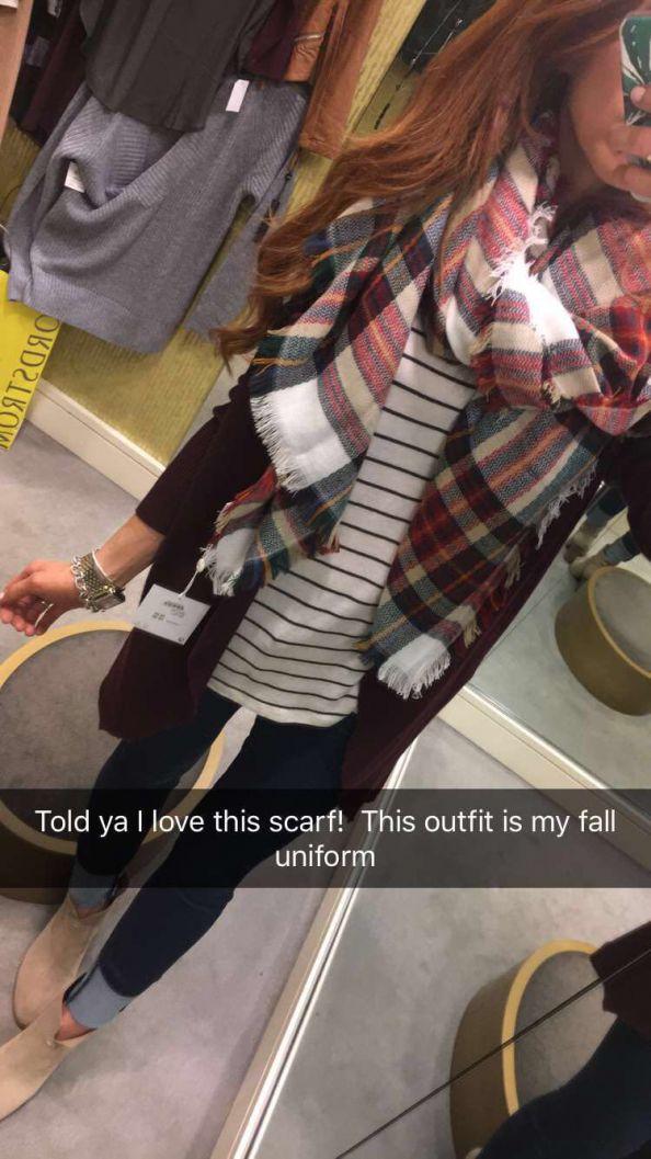 Maroon cardigan + Striped tee + Jeans + Plaid scarf + Booties
