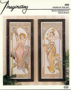 Borduurpatroon Kruissteek Mucha *Embroidery Cross Stitch Pattern ~Morning Awakening & Brightness of Day (1899) 1/6~