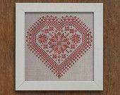 The Flowering Heart Romantic Cross-Stitch Pattern 4 por modernfolk
