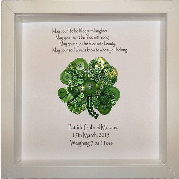 Personalised Shamrock Button Art, Framed Green Shamrock, Newborn Baby Gift, St Patrick's Day gift, St Paddy's Day, The Luck of the Irish by CraftyLittleMonkey14 on Etsy https://www.etsy.com/listing/251458070/personalised-shamrock-button-art-framed