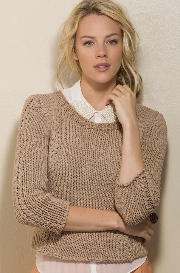 Highlights Pullover in soft cotton. Free Pattern from Tahki Yarns