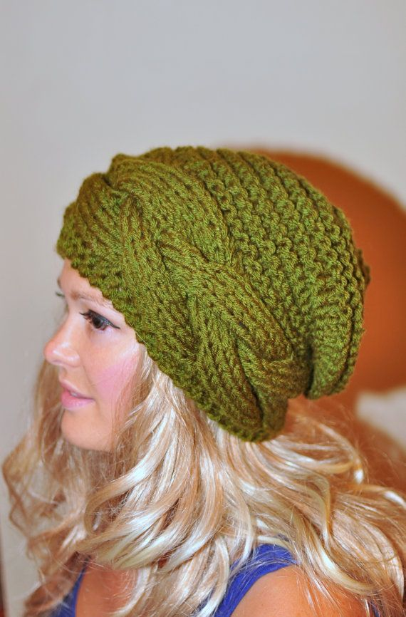 Slouchy Hat Slouchy Beanie Cable Hand Knit Winter by lucymir