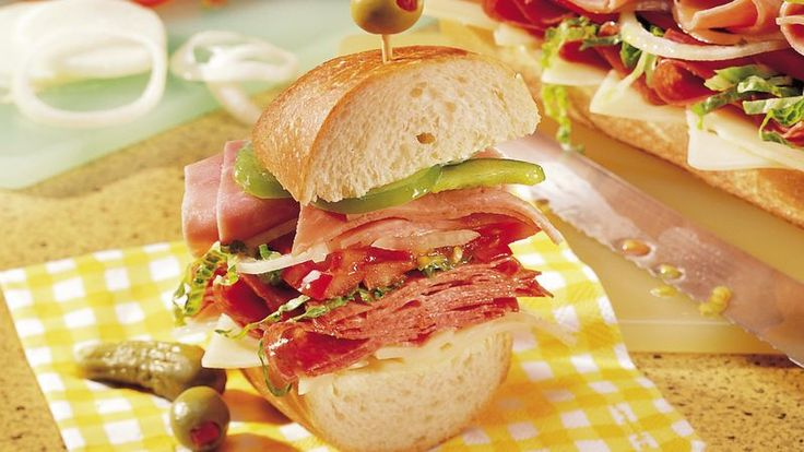 Make an instant sub shop in your kitchen.  Everyone can pile on just the sandwich goods they want!